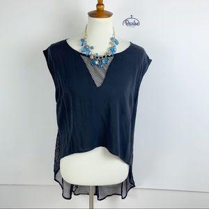 5/48 Tops - 5/48 Black Sleeveless V-neck Sheer Blouse 1894